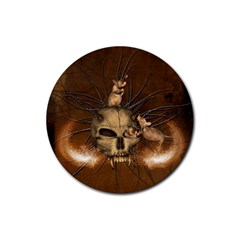 Awesome Skull With Rat On Vintage Background Rubber Coaster (round)  by FantasyWorld7