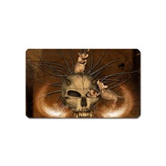 Awesome Skull With Rat On Vintage Background Magnet (name Card) by FantasyWorld7