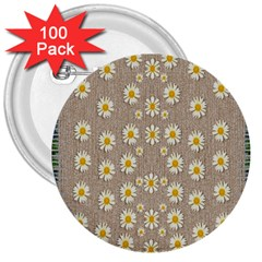 Star Fall Of Fantasy Flowers On Pearl Lace 3  Buttons (100 Pack)  by pepitasart