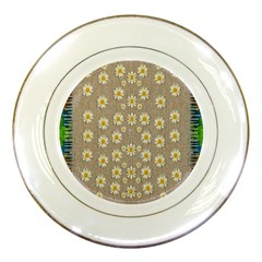 Star Fall Of Fantasy Flowers On Pearl Lace Porcelain Plates by pepitasart