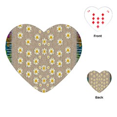 Star Fall Of Fantasy Flowers On Pearl Lace Playing Cards (heart)  by pepitasart