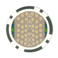 Star Fall Of Fantasy Flowers On Pearl Lace Poker Chip Card Guard by pepitasart