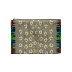 Star Fall Of Fantasy Flowers On Pearl Lace Cosmetic Bag (medium)  by pepitasart