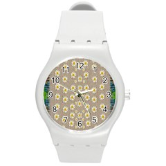 Star Fall Of Fantasy Flowers On Pearl Lace Round Plastic Sport Watch (m) by pepitasart