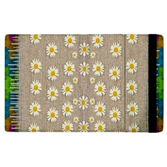 Star Fall Of Fantasy Flowers On Pearl Lace Apple Ipad 3/4 Flip Case by pepitasart