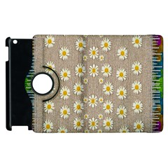 Star Fall Of Fantasy Flowers On Pearl Lace Apple Ipad 2 Flip 360 Case by pepitasart