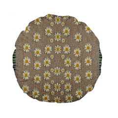 Star Fall Of Fantasy Flowers On Pearl Lace Standard 15  Premium Round Cushions by pepitasart