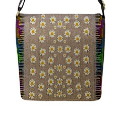 Star Fall Of Fantasy Flowers On Pearl Lace Flap Messenger Bag (l)  by pepitasart