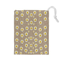 Star Fall Of Fantasy Flowers On Pearl Lace Drawstring Pouches (large)  by pepitasart
