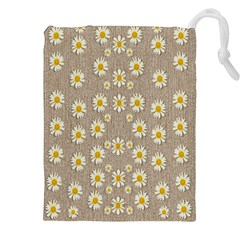 Star Fall Of Fantasy Flowers On Pearl Lace Drawstring Pouches (xxl) by pepitasart