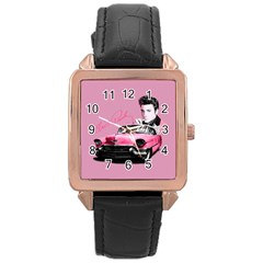 Elvis Presley s Pink Cadillac Rose Gold Leather Watch  by Valentinaart