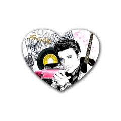 Elvis Presley Collage Rubber Coaster (heart)  by Valentinaart
