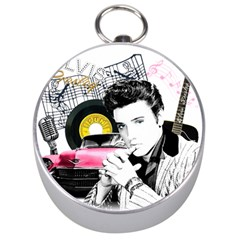 Elvis Presley Collage Silver Compasses by Valentinaart