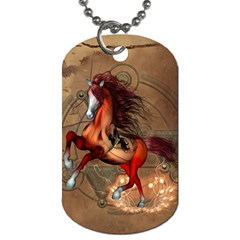 Awesome Horse  With Skull In Red Colors Dog Tag (two Sides) by FantasyWorld7