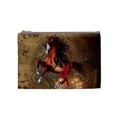 Awesome Horse  With Skull In Red Colors Cosmetic Bag (medium)  by FantasyWorld7