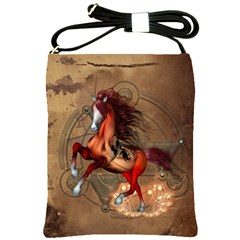Awesome Horse  With Skull In Red Colors Shoulder Sling Bags by FantasyWorld7