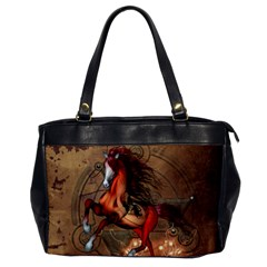 Awesome Horse  With Skull In Red Colors Office Handbags by FantasyWorld7