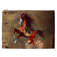 Awesome Horse  With Skull In Red Colors Cosmetic Bag (xxl)  by FantasyWorld7