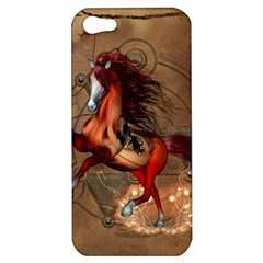 Awesome Horse  With Skull In Red Colors Apple Iphone 5 Hardshell Case by FantasyWorld7