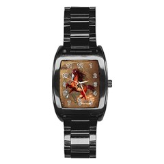 Awesome Horse  With Skull In Red Colors Stainless Steel Barrel Watch by FantasyWorld7