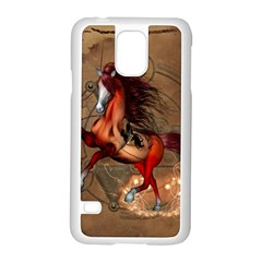 Awesome Horse  With Skull In Red Colors Samsung Galaxy S5 Case (white) by FantasyWorld7