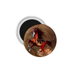 Awesome Horse  With Skull In Red Colors 1 75  Magnets by FantasyWorld7