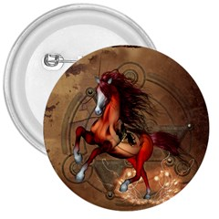 Awesome Horse  With Skull In Red Colors 3  Buttons by FantasyWorld7