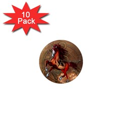 Awesome Horse  With Skull In Red Colors 1  Mini Magnet (10 Pack)  by FantasyWorld7
