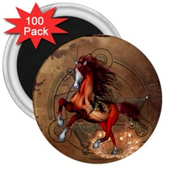 Awesome Horse  With Skull In Red Colors 3  Magnets (100 Pack) by FantasyWorld7