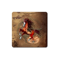 Awesome Horse  With Skull In Red Colors Square Magnet by FantasyWorld7