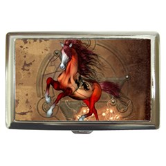 Awesome Horse  With Skull In Red Colors Cigarette Money Cases by FantasyWorld7
