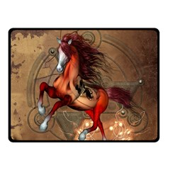 Awesome Horse  With Skull In Red Colors Fleece Blanket (small) by FantasyWorld7