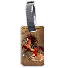 Awesome Horse  With Skull In Red Colors Luggage Tags (two Sides) by FantasyWorld7