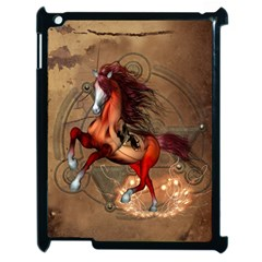 Awesome Horse  With Skull In Red Colors Apple Ipad 2 Case (black) by FantasyWorld7