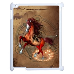 Awesome Horse  With Skull In Red Colors Apple Ipad 2 Case (white) by FantasyWorld7