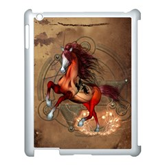 Awesome Horse  With Skull In Red Colors Apple Ipad 3/4 Case (white) by FantasyWorld7