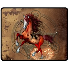 Awesome Horse  With Skull In Red Colors Double Sided Fleece Blanket (medium)  by FantasyWorld7