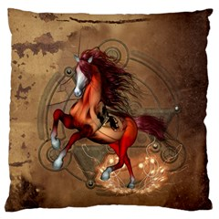 Awesome Horse  With Skull In Red Colors Large Flano Cushion Case (one Side) by FantasyWorld7