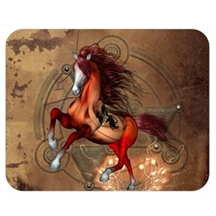 Awesome Horse  With Skull In Red Colors Double Sided Flano Blanket (medium)  by FantasyWorld7