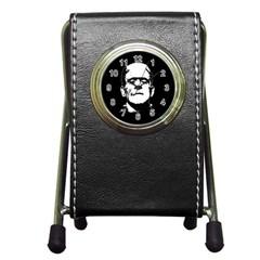 Frankenstein s Monster Halloween Pen Holder Desk Clocks by Valentinaart
