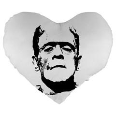 Frankenstein s Monster Halloween Large 19  Premium Heart Shape Cushions by Valentinaart