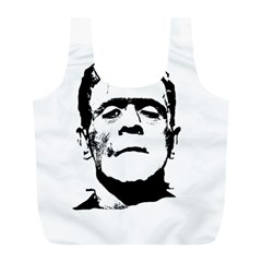 Frankenstein s Monster Halloween Full Print Recycle Bags (l)  by Valentinaart