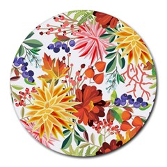 Autumn Flowers Pattern 1 Round Mousepads by tarastyle