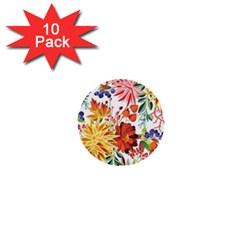 Autumn Flowers Pattern 1 1  Mini Buttons (10 Pack)  by tarastyle