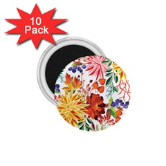 Autumn Flowers Pattern 1 1 75  Magnets (10 Pack)  by tarastyle