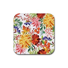 Autumn Flowers Pattern 1 Rubber Square Coaster (4 Pack)  by tarastyle