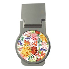 Autumn Flowers Pattern 1 Money Clips (round)  by tarastyle