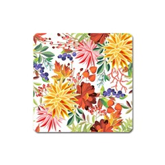 Autumn Flowers Pattern 1 Square Magnet by tarastyle