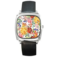 Autumn Flowers Pattern 1 Square Metal Watch by tarastyle