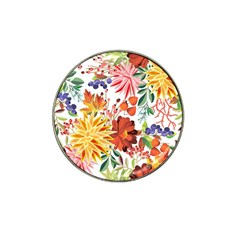 Autumn Flowers Pattern 1 Hat Clip Ball Marker (4 Pack) by tarastyle